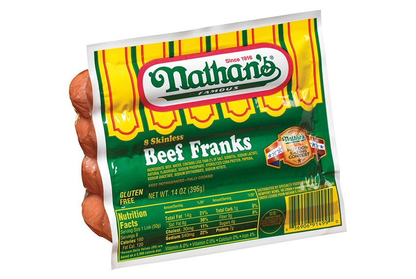 All Beef Hot Dogs Nathans